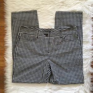 [Theory] Gingham Print Ankle Crop Stretch Pants